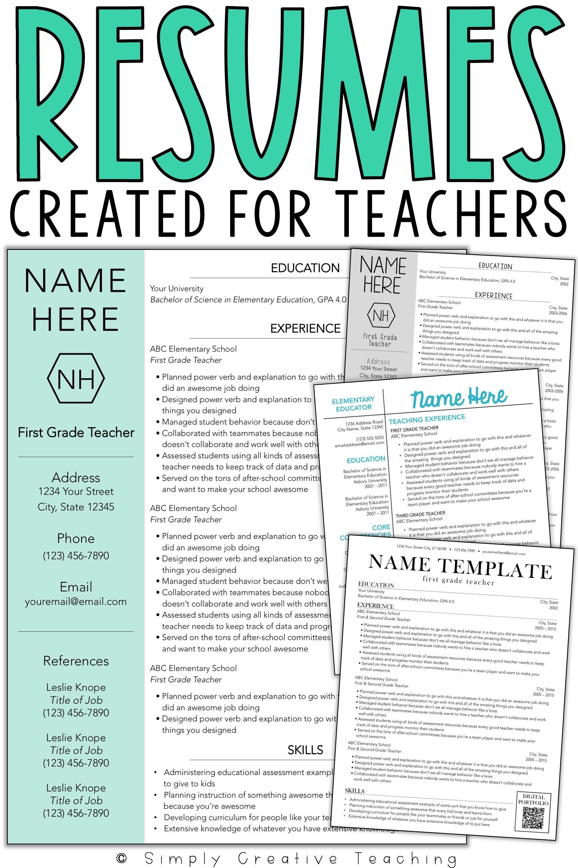 Resume Templates Editable Teaching resume, Teacher