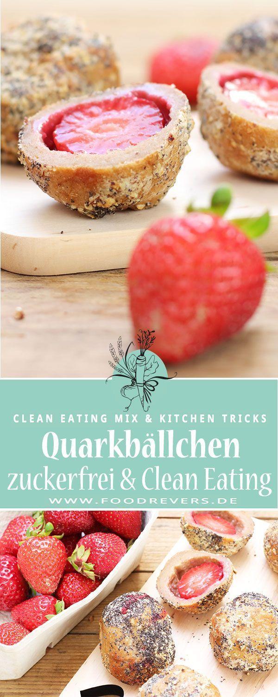 Erdbeer Quarkbällchen ohne Zucker – zuckerfrei mit Clean Eating im Airfryer oder Backofen – Foodrevers – Carey&CleanEatingS