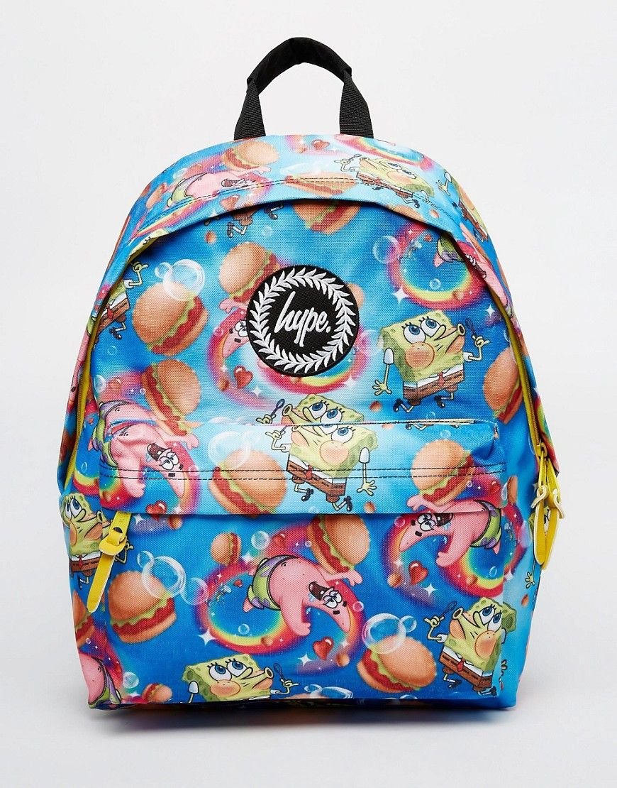 Image 1 of Hype x Spongebob Backpack with Burger and Patrick Print 00eb1f90e350a
