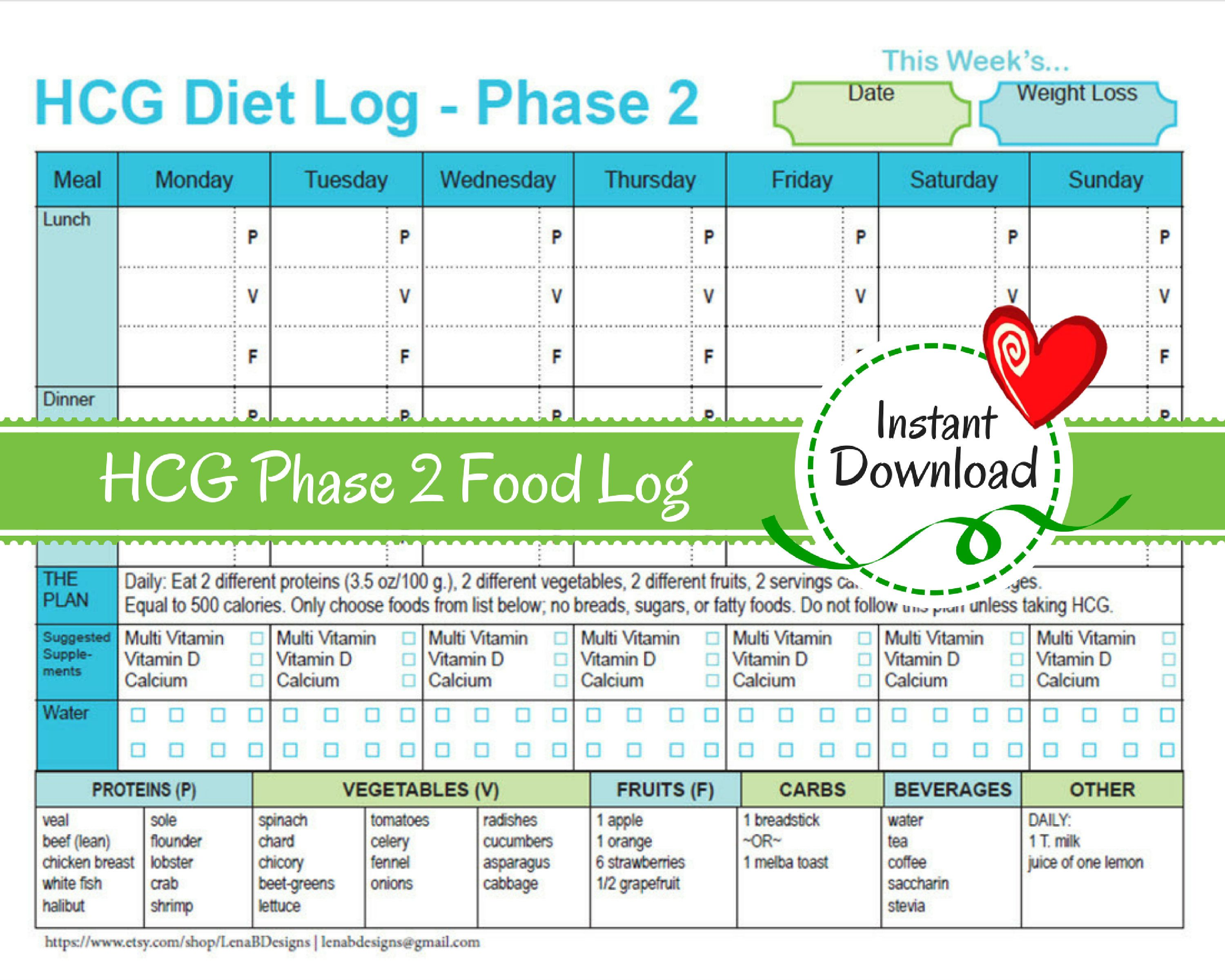 hcg weekly phase 2 food tracker weight loss journal diet log