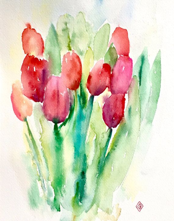 Red Tulips 8x10 Original Watercolor Painting Cheerful Flowers