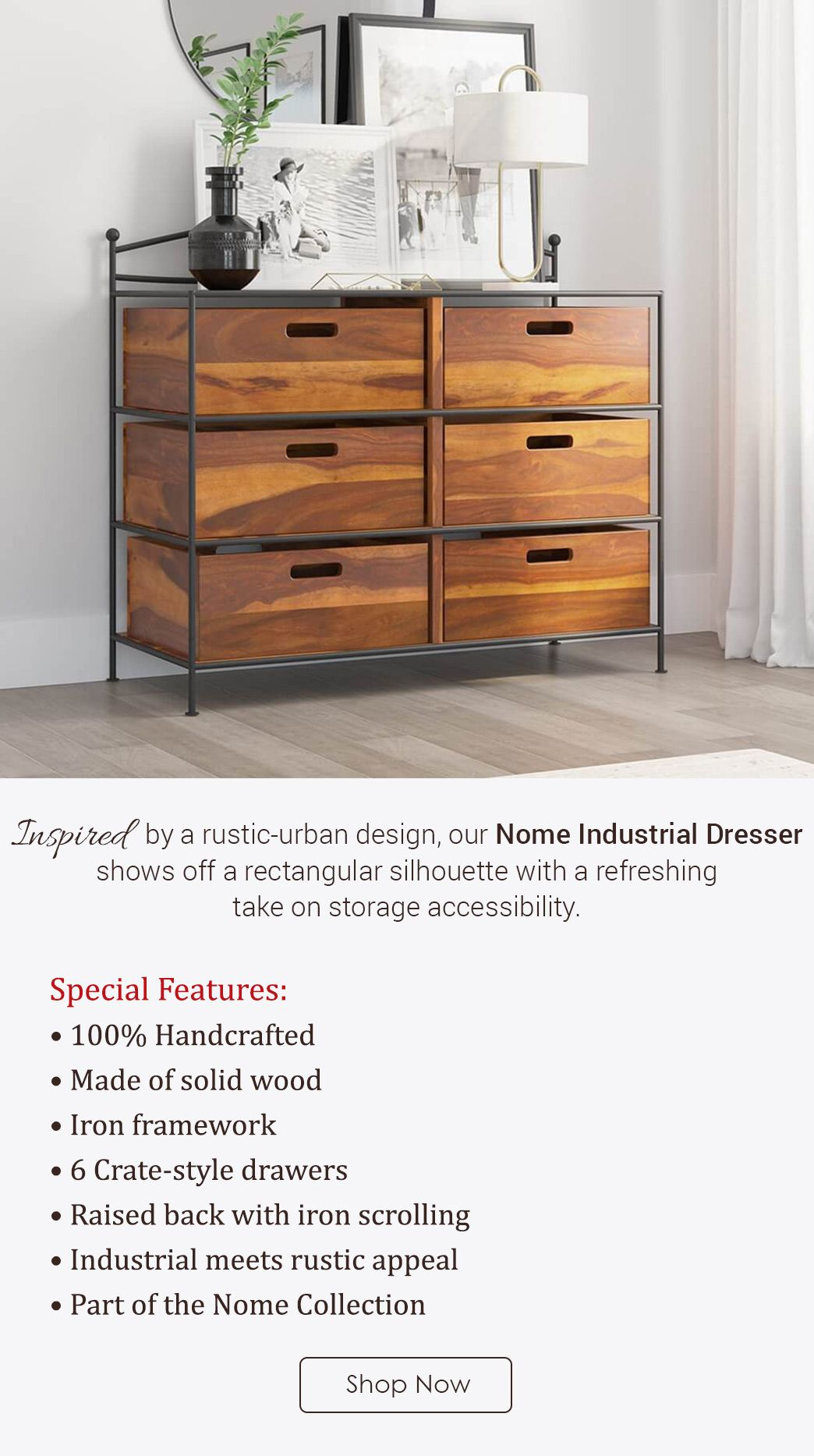 The rustic character of solid wood complements the