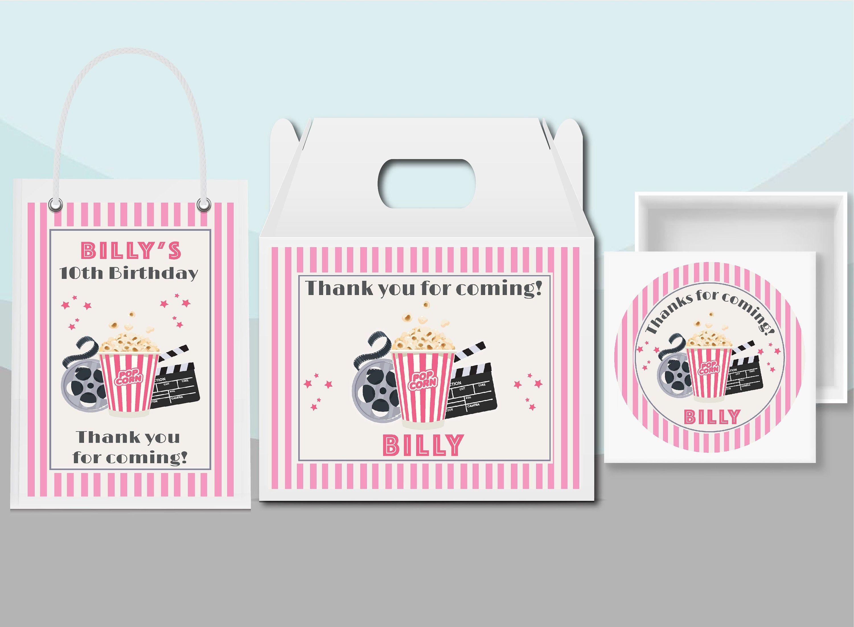 Photo of Soirée cinéma, film en plein air, filles enfants, adolescents fête d'anniversaire rose cadeau sac étiquettes pignon boîte autocollants Party Favor fournitures MO101