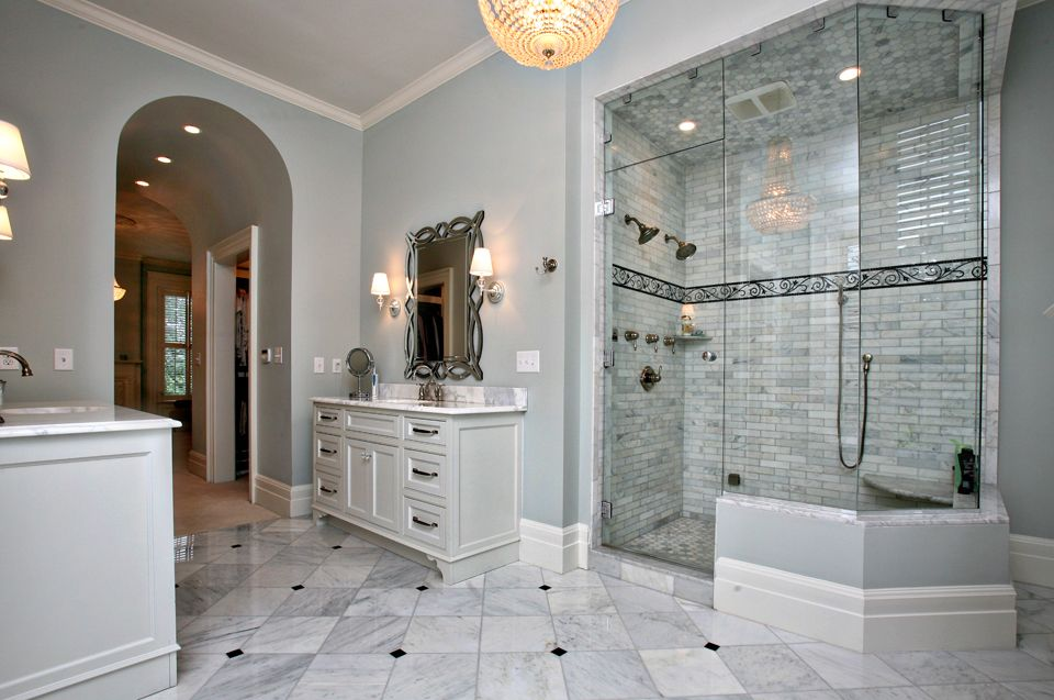 Designs For Jack Jill Bathrooms Great Marble Tile Floor Brick Effect Marble Tiled Double Sh Jack And Jill Bathroom Bathroom Layout Bathroom Design Layout