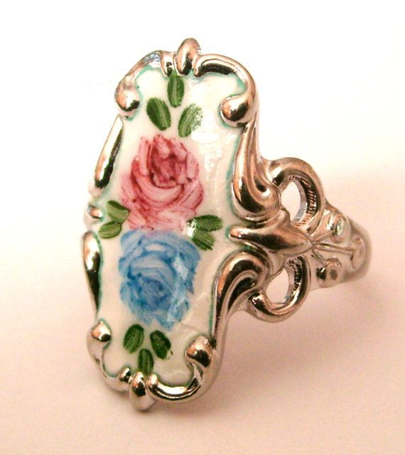 Vintage Sterling Silver Enamel Floral Ring by omnistar on Etsy