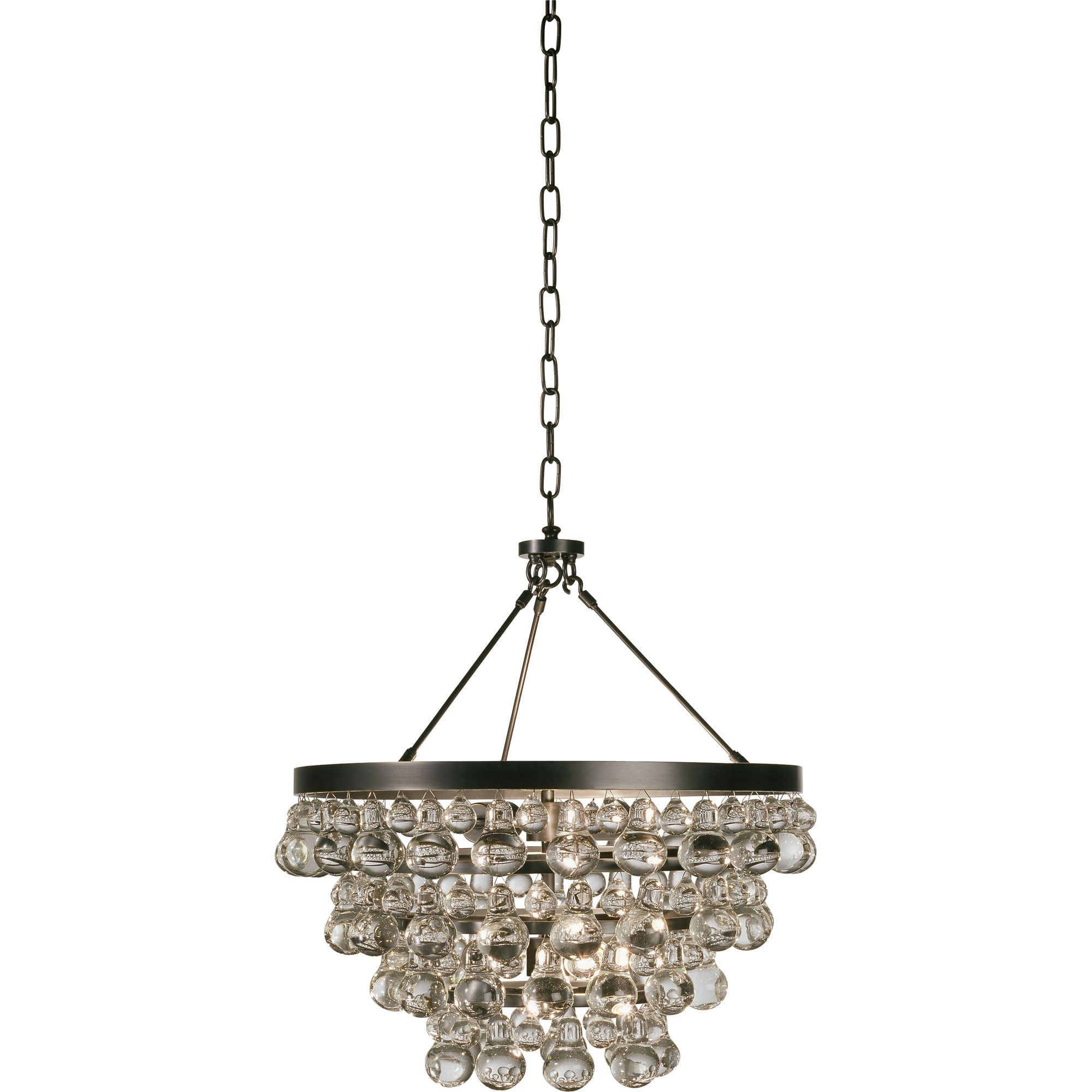 The Bling Chandelier features Crystal drops with an Antique Brass