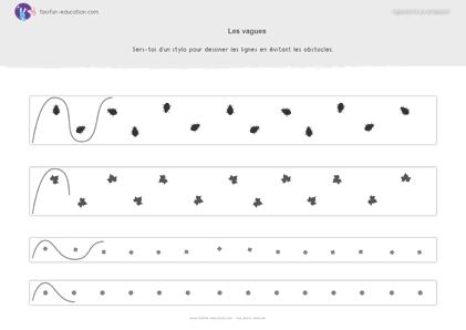 24 pdf fiche maternelle gs graphisme vagues eviter obstacles a imprimer kil pinterest. Black Bedroom Furniture Sets. Home Design Ideas