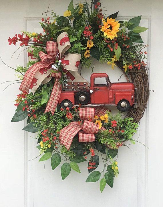 Photo of Fall Truck Wreath, Fall Wreath,- Truck Wreaths, Sunflower Wreath, Front DoorWreath, Blue Truck Wreath, Sassy Doors Wreaths