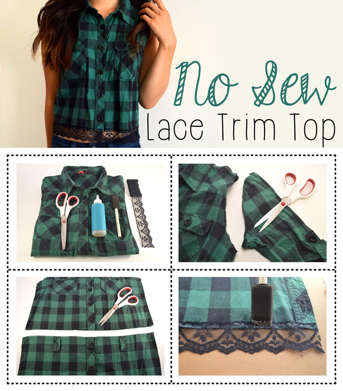 Add an adorable, feminine touch to any plaid shirt with some lace and  fabric glue 1cff6caeb56