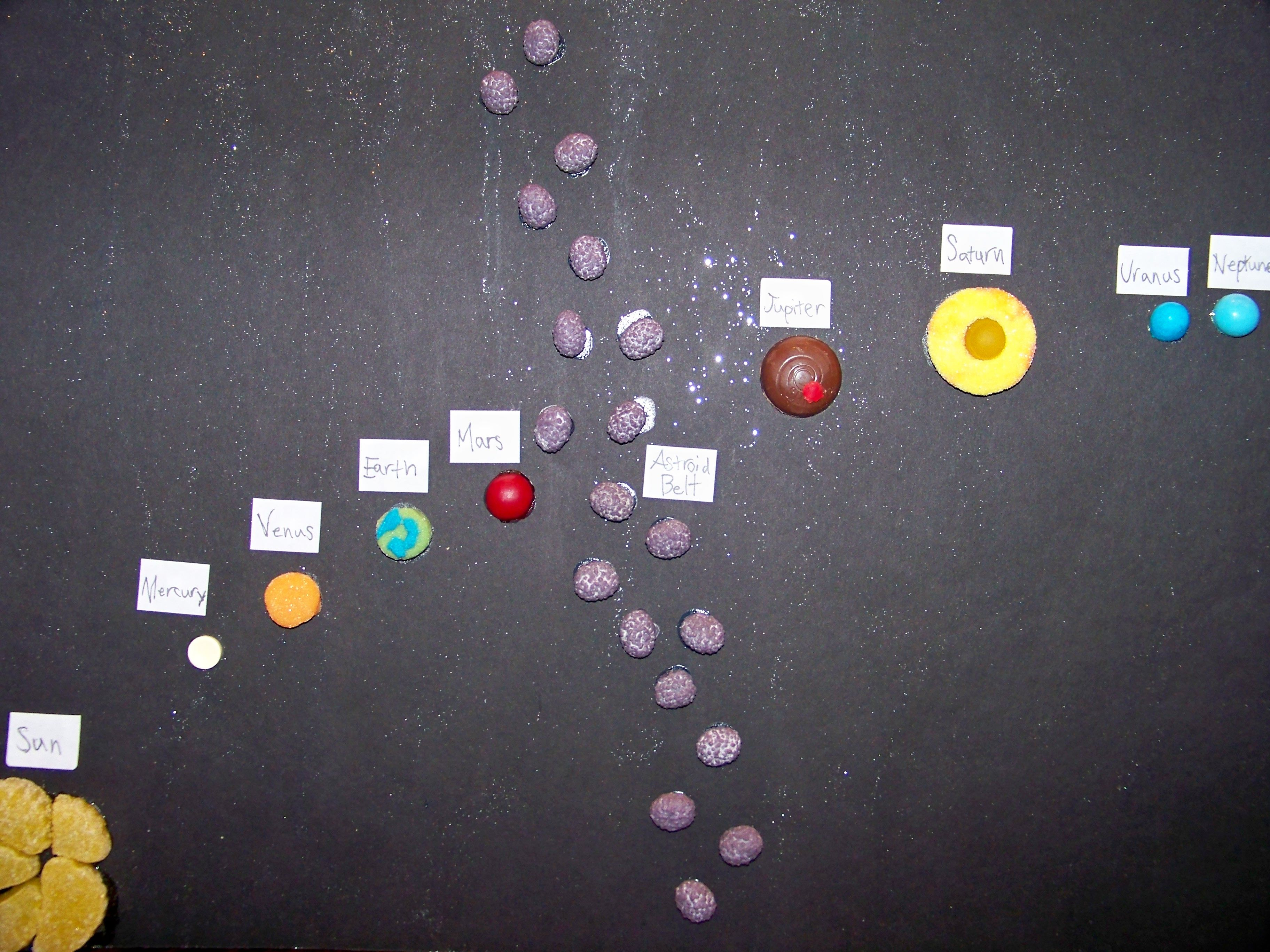 The Solar System made out of candy. Tried to get size ...