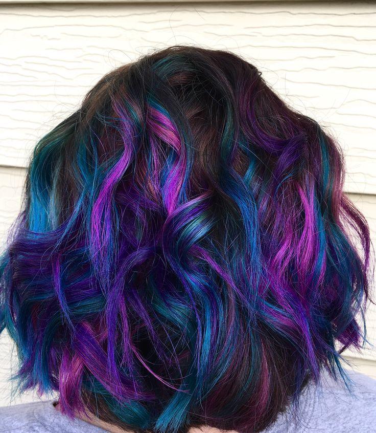 Pink Purple And Teal Balayage Highlights Hair And