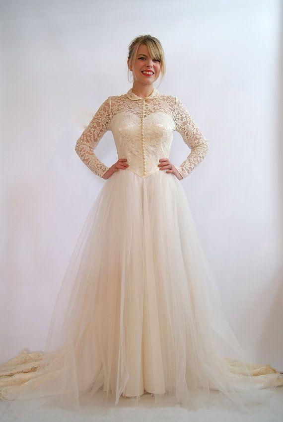 Vintage Wedding Dress 1950s Wedding Dress Full by xtabayvintage ...