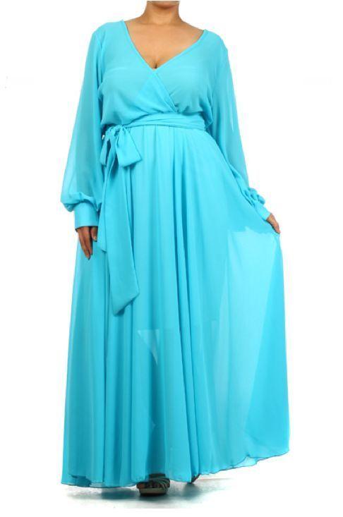 b5a8bcc4414 LIGHT BLUE FULL SWEEP Chiffon MAXI DRESS Wrap SHEER Gown Long Skirt PARTY  vtg  tamarstreasuresgeneric  Maxi  Cocktail