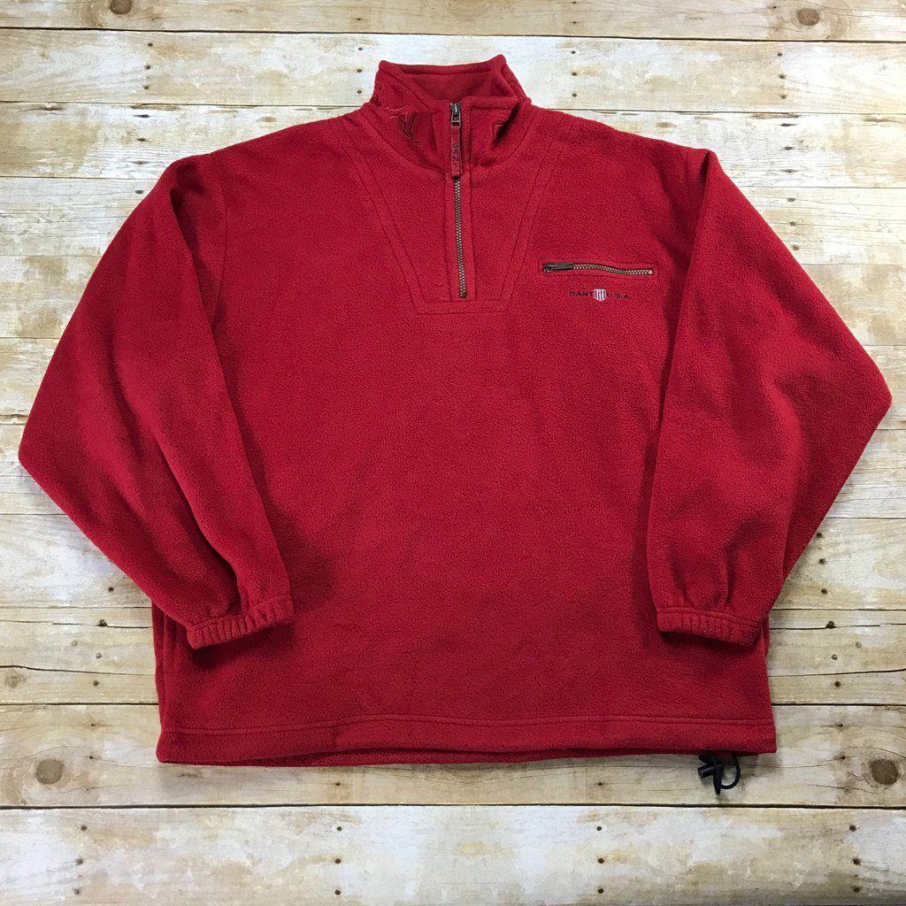 Vintage Gant U.S.A. Rugger Red Fleece Jacket Mens Size XL ...