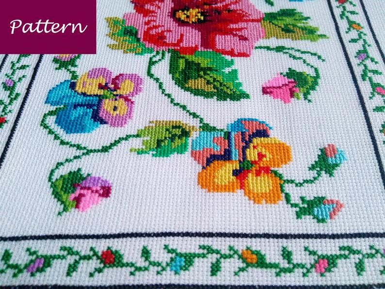Cross Stitch Pattern Colorful Tablecloth With Flowers Diy Etsy In 2021 Cross Stitch Patterns Colourful Cross Stitch Stitch Patterns