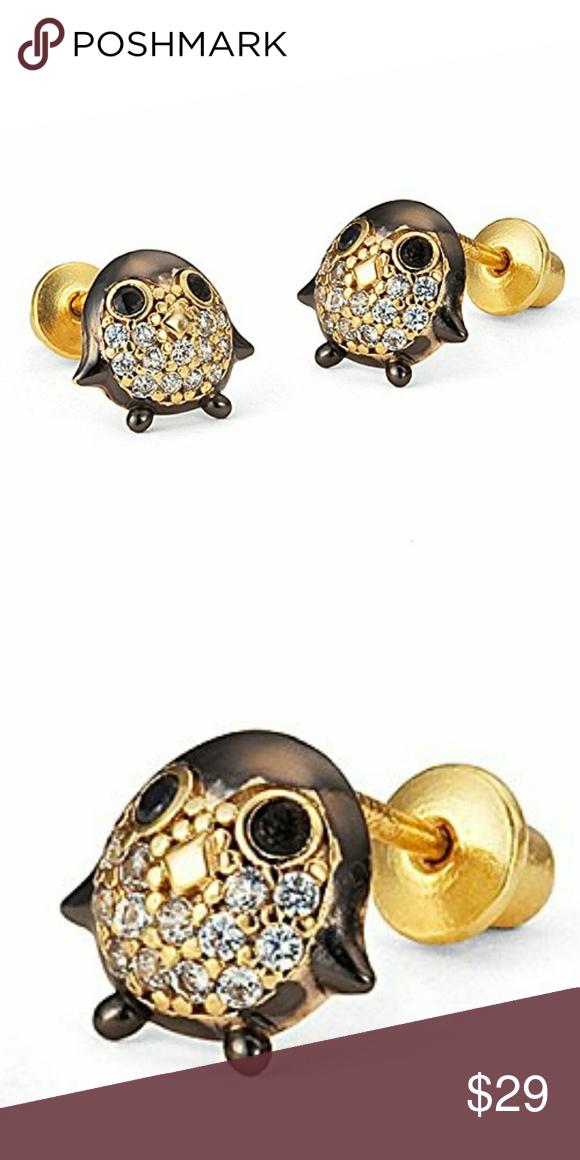 14k gold plated Penguin CZ Earrings!.