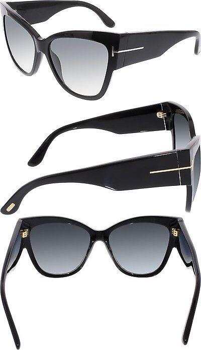 a60489ae3c Sunglasses 45246  Tom Ford Women S Gradient Anoushka Ft0371-01B-57 Black  Cat Eye Sunglasses -  BUY IT NOW ONLY   165.99 on eBay!