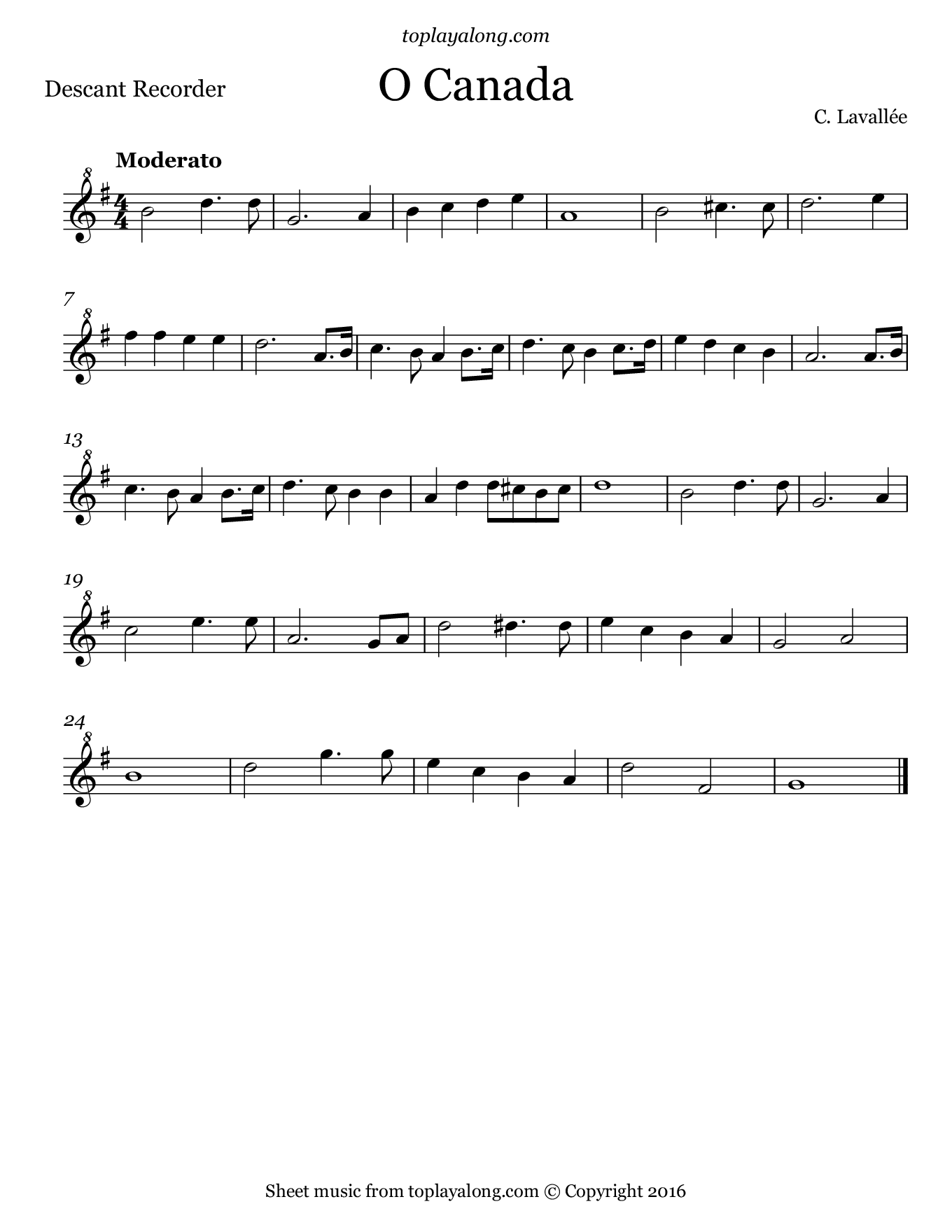 O Canada Free Sheet Music For Recorder Visit Toplayalong Com And Get Access To Hundreds Of Score Beginner Violin Sheet Music Sheet Music Recorder Sheet Music