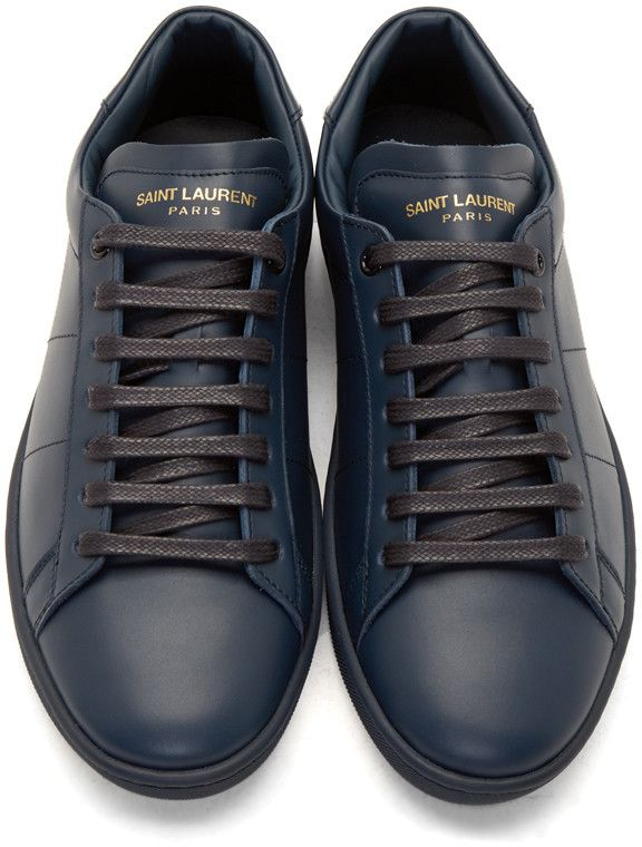 5dad95e0cb4 Saint Laurent Navy SL/01 Low-Top Sneakers | Shoes | Sneakers fashion ...