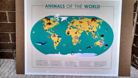 Animals of the world map artsy fartsy artsy and illustrations animals of the world map by pintobeanpress on etsy gumiabroncs Image collections