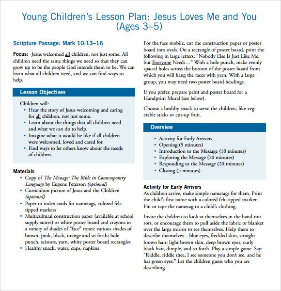Sample Toddler Lesson Plan - 7+ Documents in PDF, Word Lesson - plan template in pdf