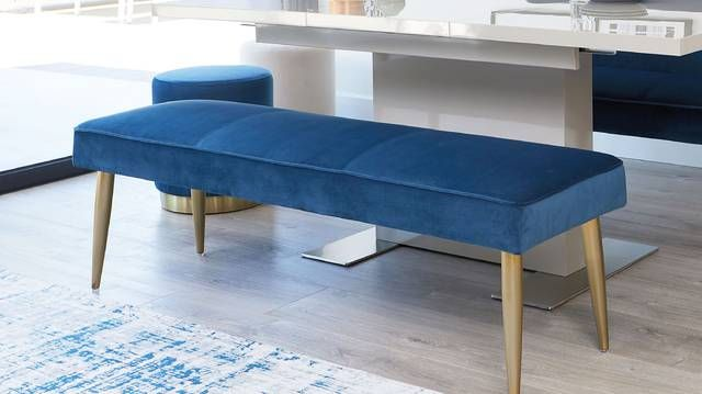 Mellow Velvet And Brass 3 Seater Bench Without Backrest In