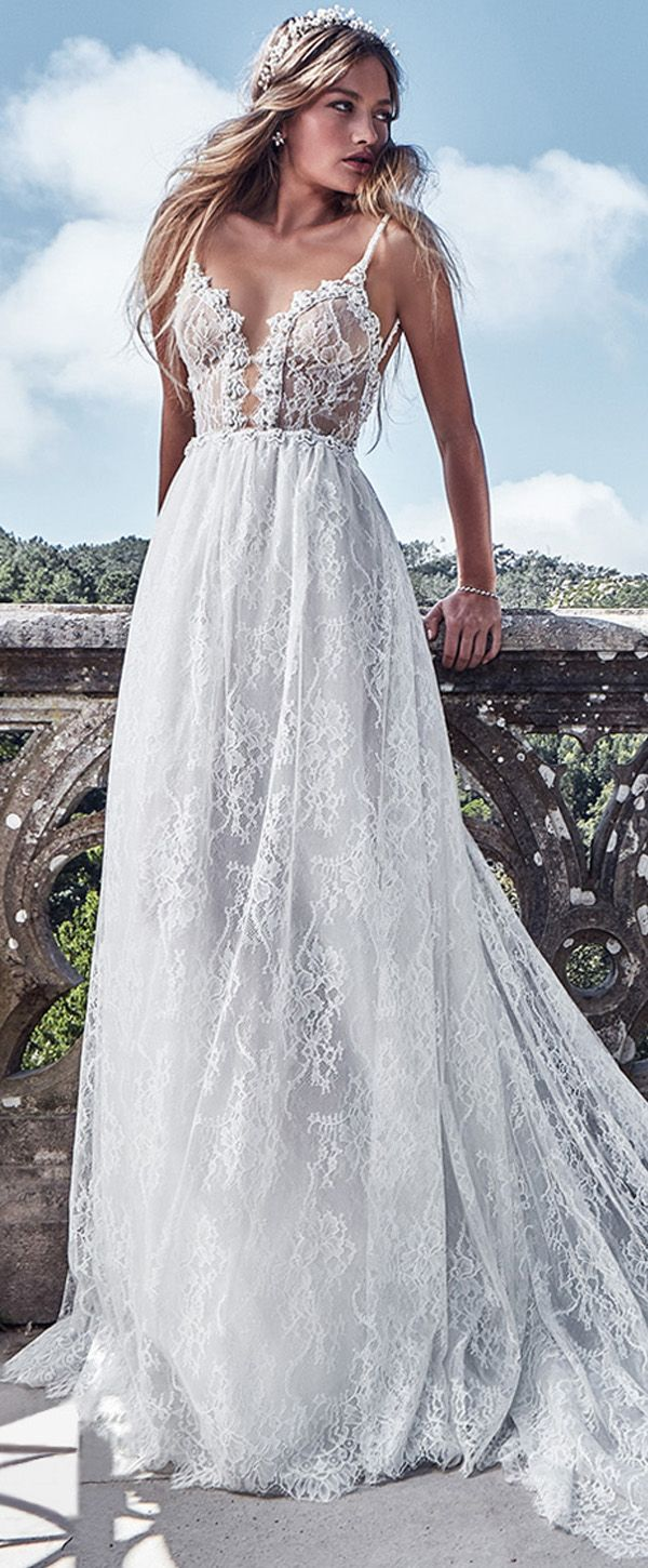 Bridal gowns for beach weddings  Fabulous Lace u Satin Spaghetti Straps ALine Wedding Dresses With