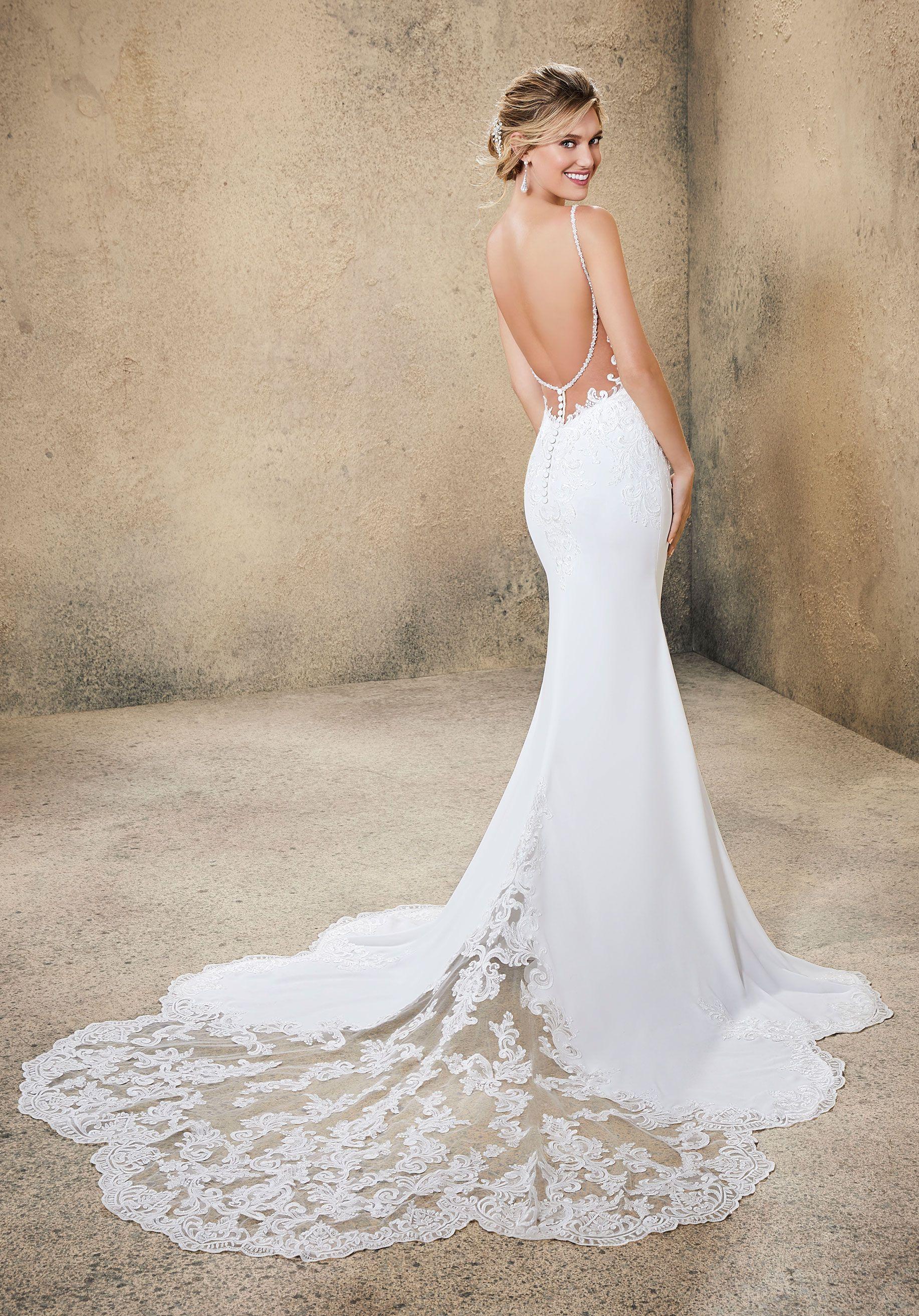 Slim Crepe Wedding Gown Wedding Dresses Wedding Dresses Lace Backless Wedding