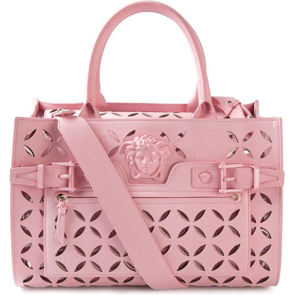 Versace. Pink Palazzo Perforated Tote as seen on Irina Shayk