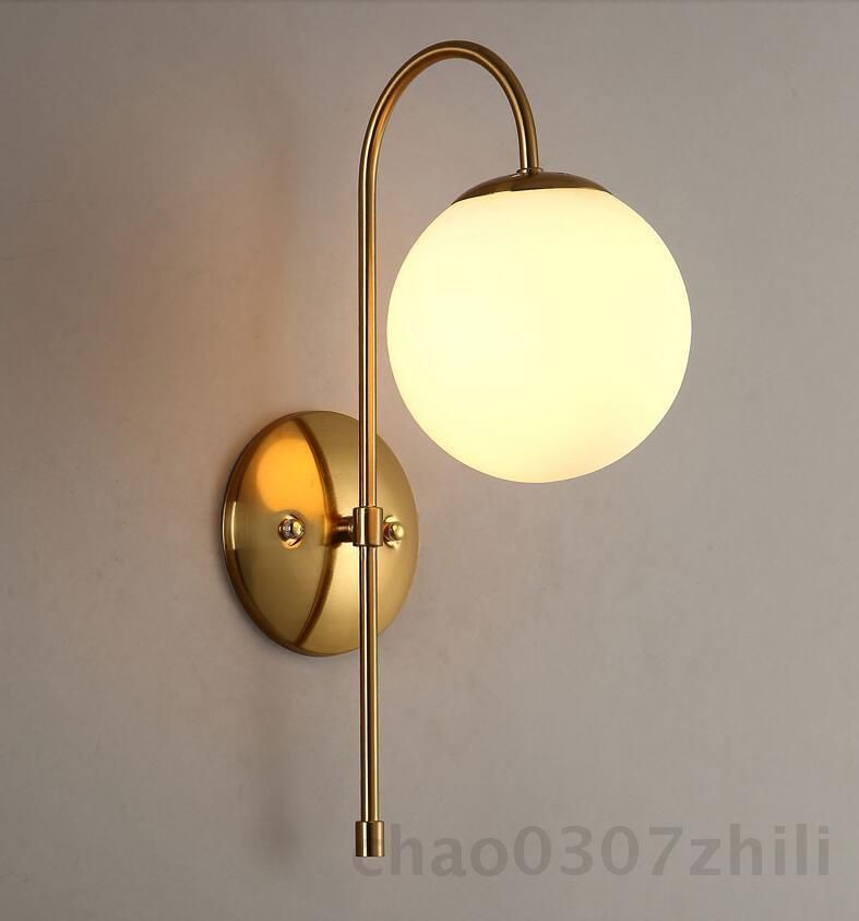 Post Modern Style Globe Glass Wall Sconce Antique Brass Finish Wall ...