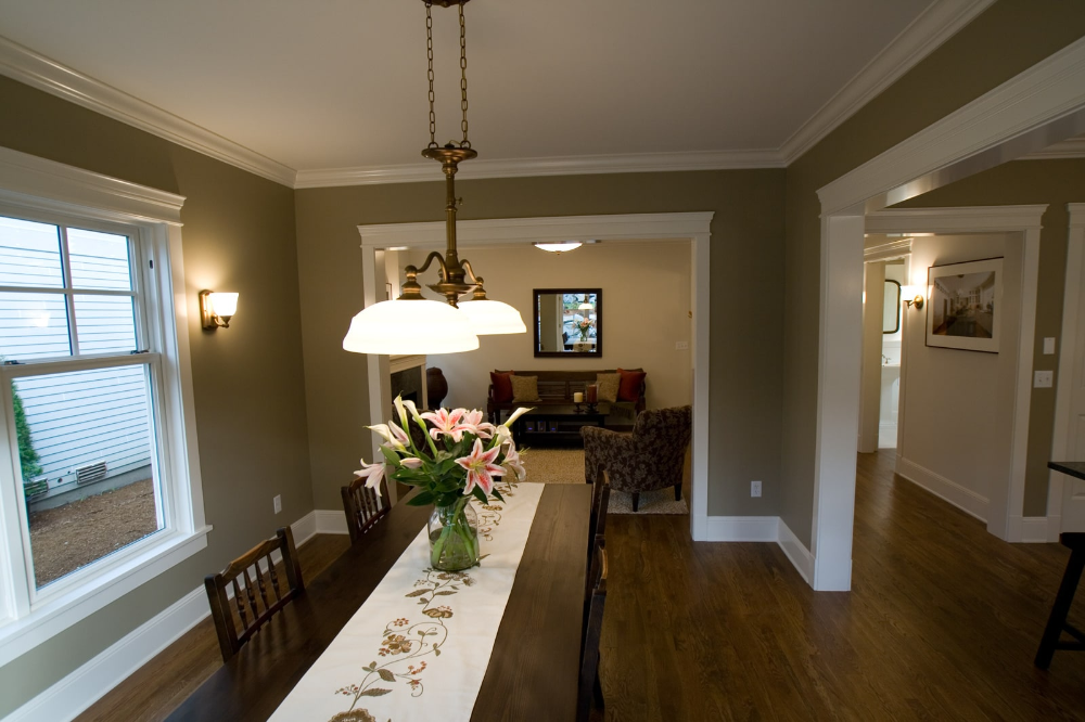 Fancy Basement Dining Room Design With Long Narrow Table ...