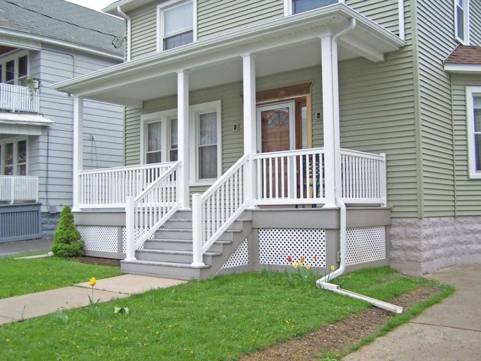 Exterior Simple And Neat Picture Of Front Porch Decoration Using White Wood Front Porch Railing Including Porch Design Front Porch Design Porch Railing Designs
