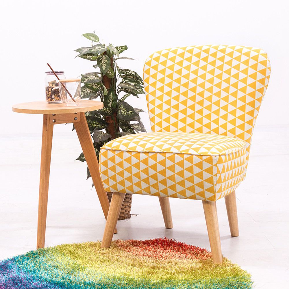 Small Upholstered Seater Wooden Legs Vintage Tub Chair Retro Lounge ...