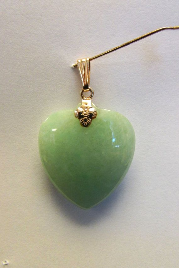 Vintage estate 14k larger apple green jade heart pendant by vintage estate 14k larger apple green jade heart pendant by alohamemorabilia mozeypictures Choice Image