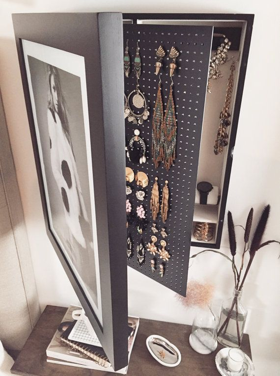 BlackWall Mounted Jewelry Organizer Photo Frame Jewelry case