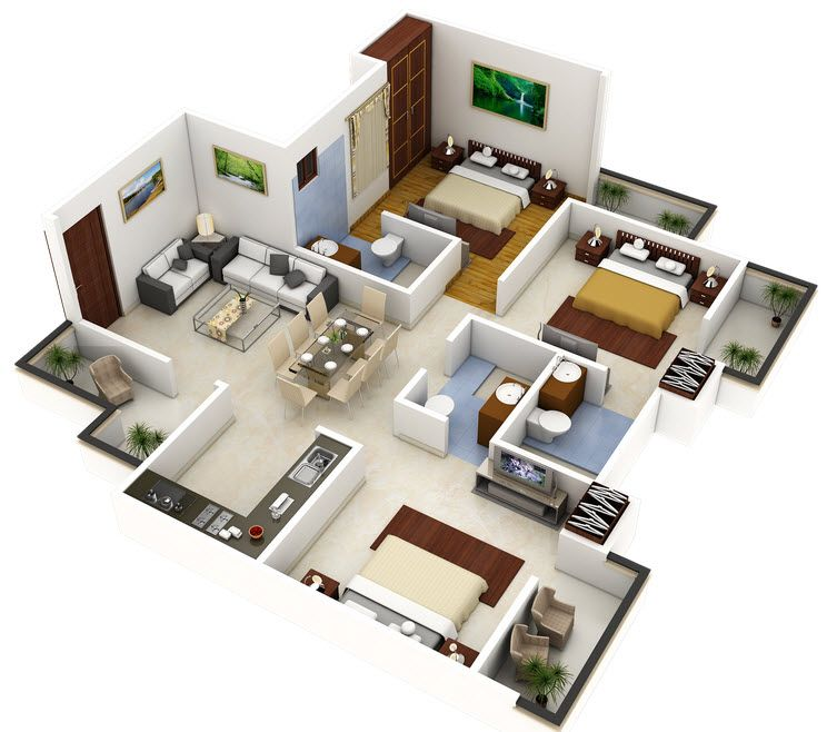 Plano 3d de casa o departamento cuadrado house plan for Planos 3d