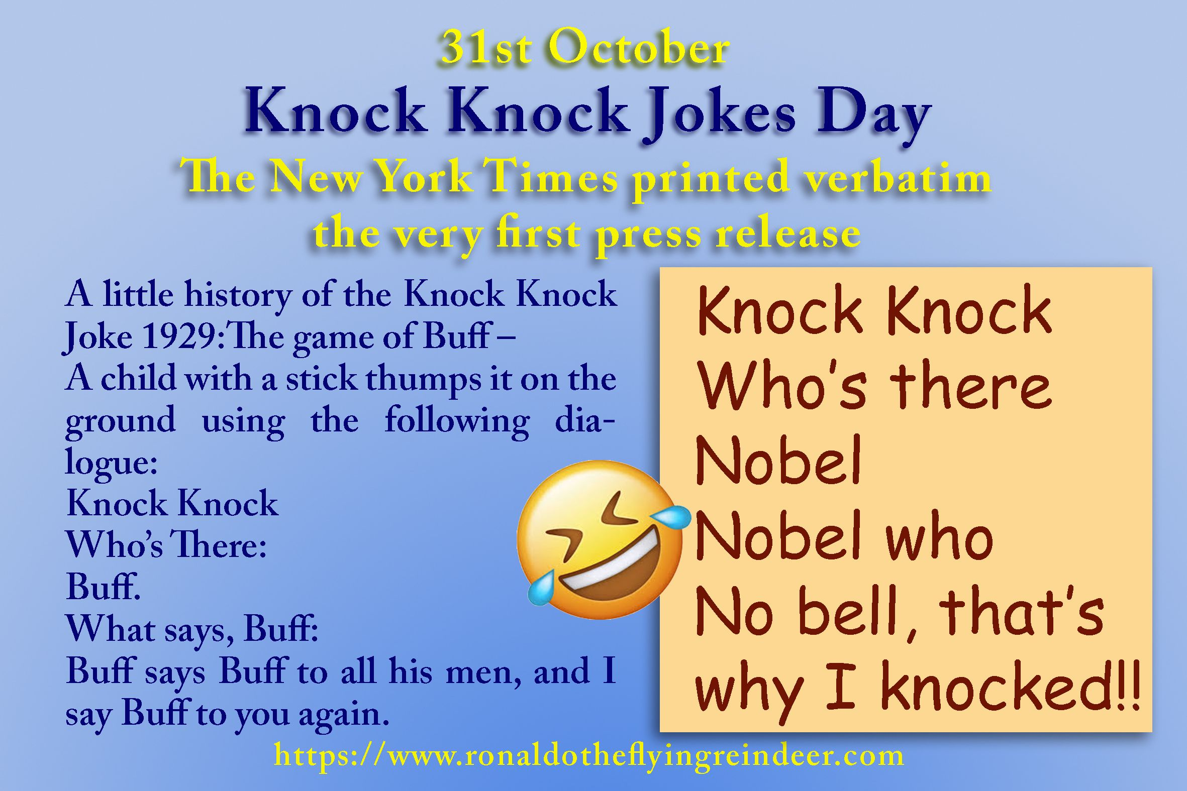Today 31st Oct Is Knockknockjokeday Knock Knock Jokes Can Take The Form Of Simple Puns On The Name Given Jokes Specifica Knock Knock Jokes Jokes Knock Knock