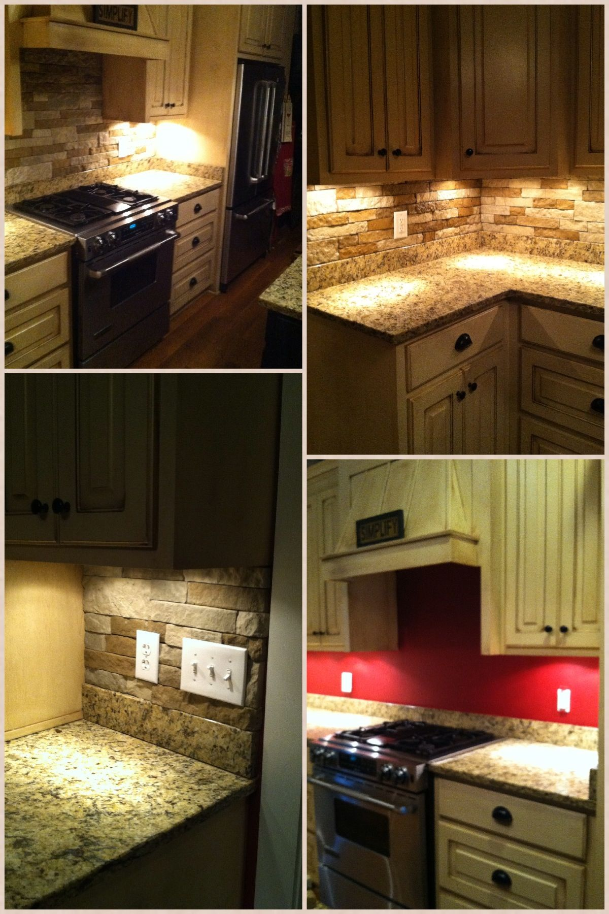 Airstone Kitchen backsplash before afters....super easy DIY project ...