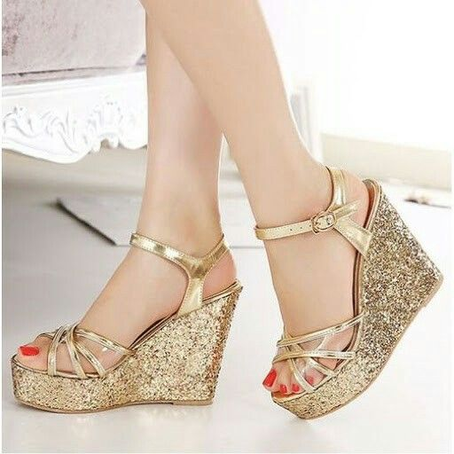glitter strappy wedges