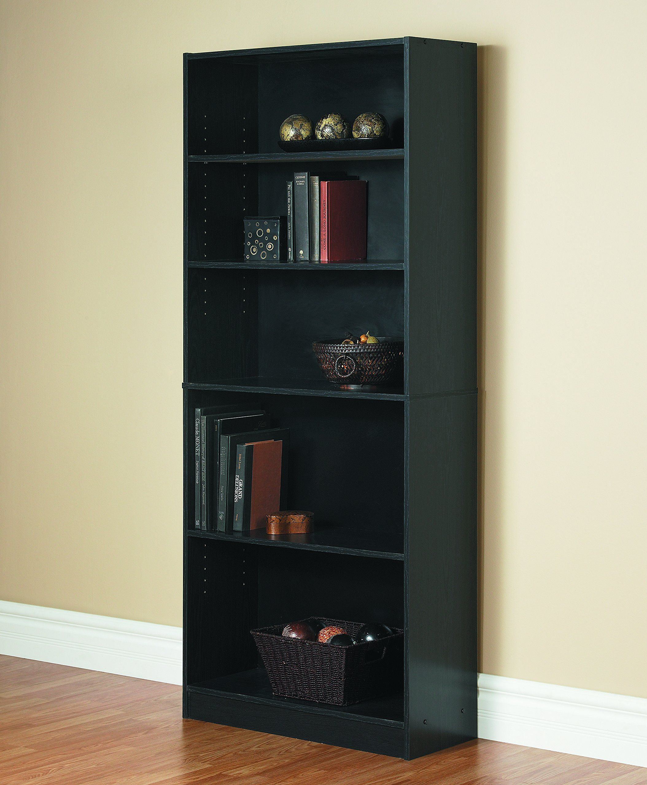 Mylex Five Shelf Bookcase Three Adjustable Shelves 11 63 X 29 63 X 71 5 Inches Black Assembly Required 43074 Shelves Furniture For Small Spaces Bookcase