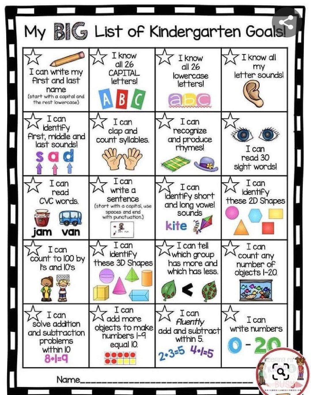 Kindergarten Learning Goals In