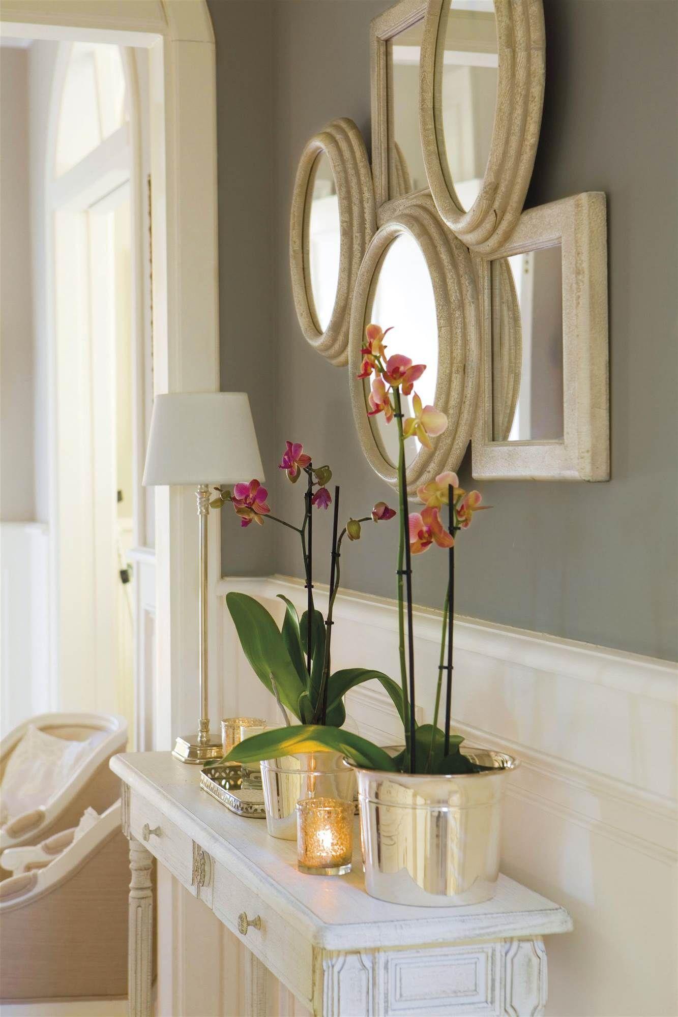 Recibidor con una consola blanca, plantas, una lámpara y un conjunto ...