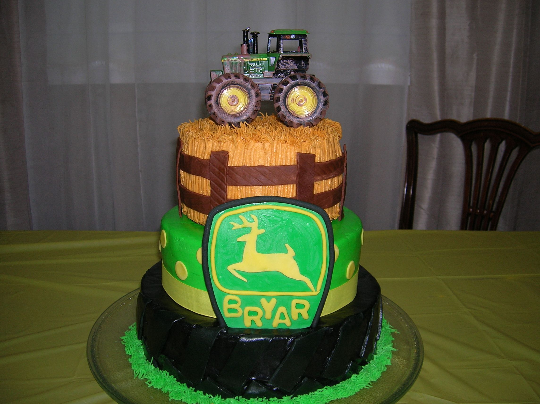 John Deere 2nd birthday cake for Bryar 108 and 6 inch layersiced