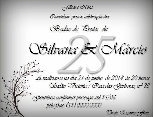 Convite Personalizado Tema Bodas De Prata Convites Bodas De