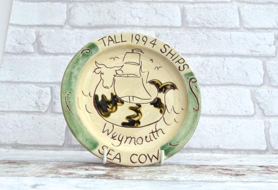 1990s Tall Ships Race Sea Cow Vintage Plate Tall Ships Race Sailing Weymouth Cutty Sark Vintage Home Decor Commemo Vintage Plates Vintage House Tall Ships Race