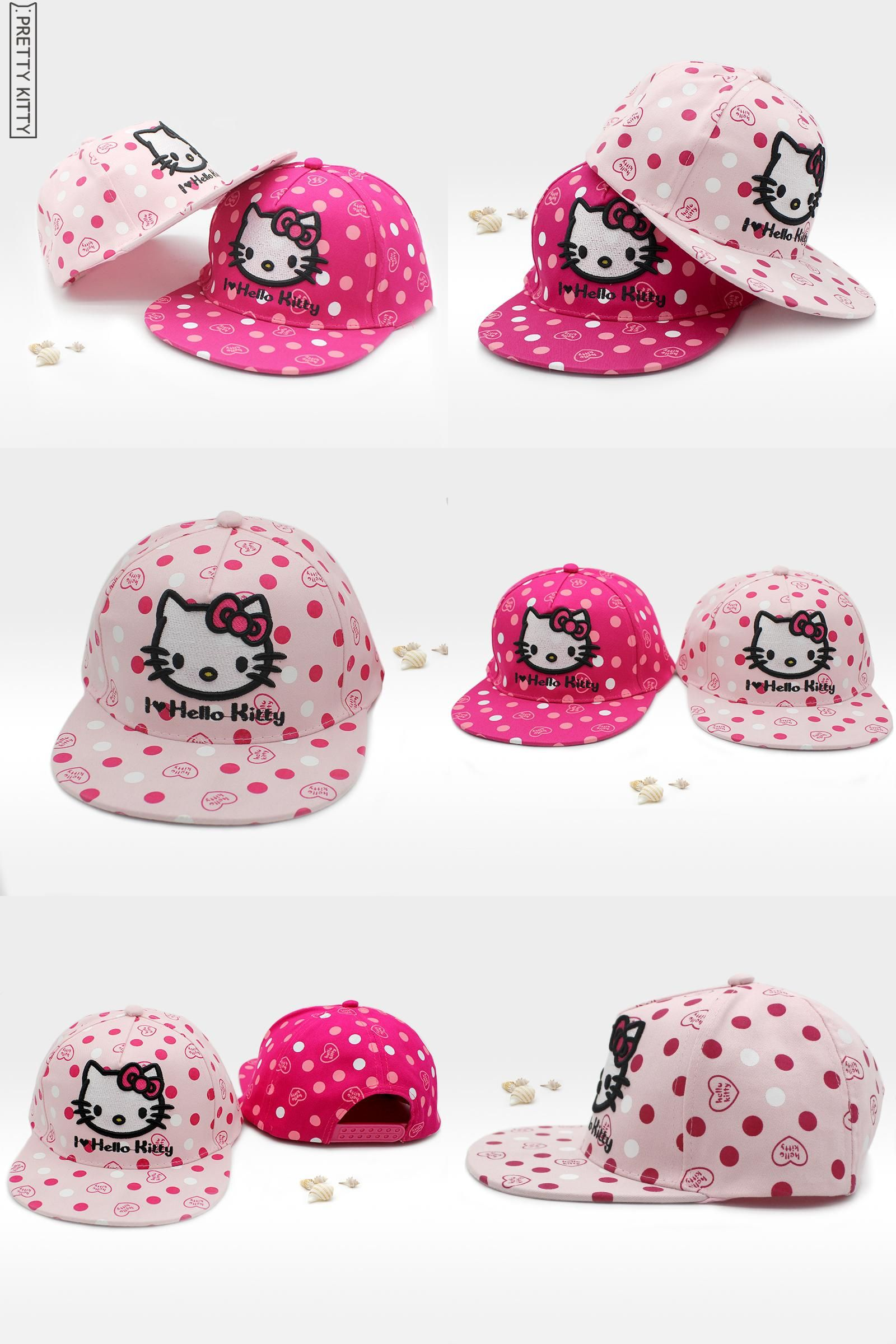 2a7711d74 [Visit to Buy] PRETTY KITTY Children Baseball Caps Girls Spring Summer Hat  Hello Kitty Sun Hat Baby Kids Cotton Cap for Girls New Fashion  #Advertisement
