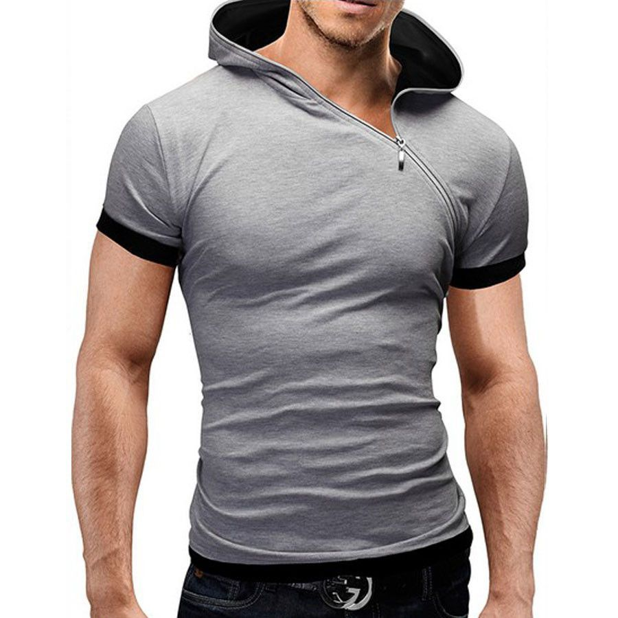 new summer t shirt men inclined zipper design hooded man t-shirt Fitness  tshirt homme