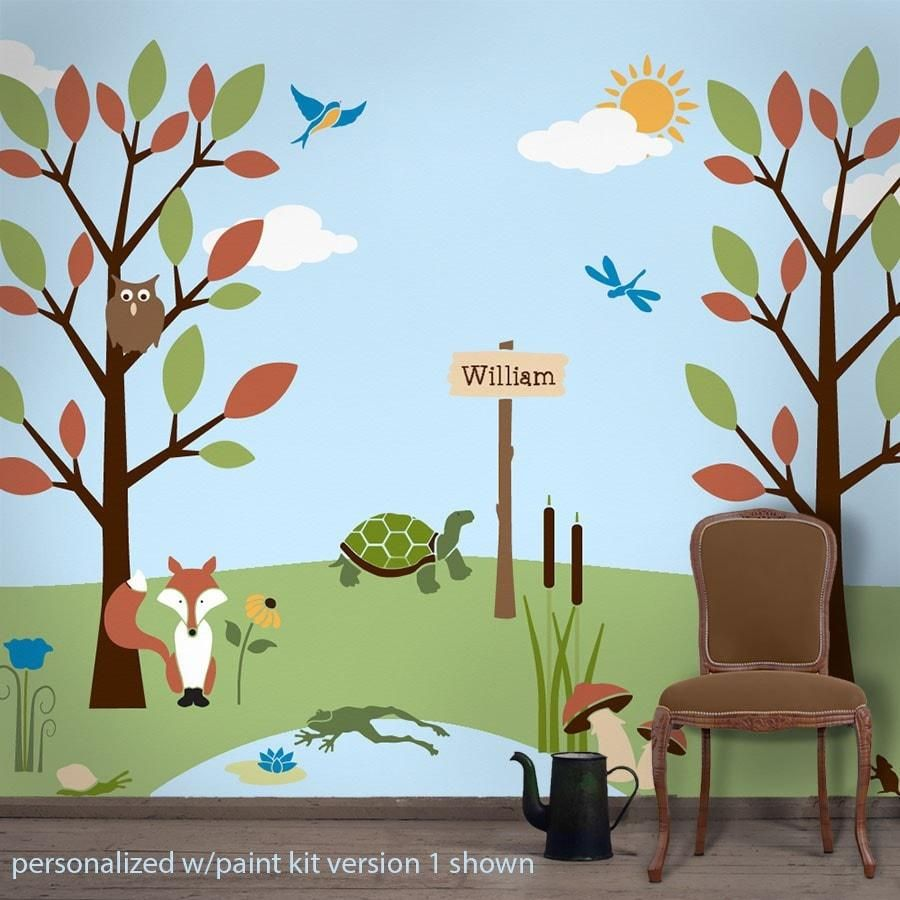 Forest Friends Wall Stencil Kit for Kids Rooms Pinterest Stencil