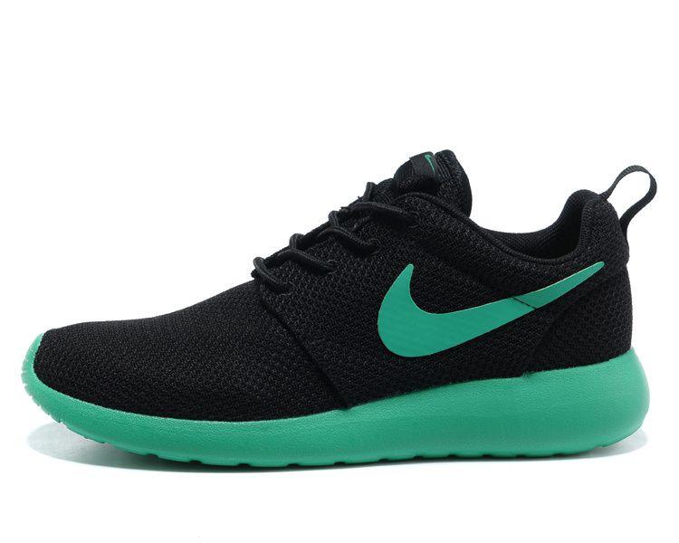 Mens Nike Roshe Run Black Stadium Green Volt Shoes #Black