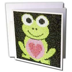 """Florene Childrens Art - Green Mosaic Frog With Pink Heart - Greeting Cards-6 Greeting Cards with envelopes by Florene. $10.49. Green Mosaic Frog With Pink Heart Greeting Card is a great way to say """"thank you"""" or to acknowledge any occasion. These blank cards are made of heavy duty card stock with a gloss exterior and a matte interior for smudge free writing. Cards are creased for easy folding and come with white envelopes. Available in sets of 6 and 12.. Save 28% Off!"""